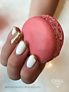 White and gold nail polish inspiration
